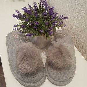 VS grey pom pom slippers